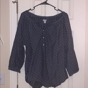 3/4 polka dot blouse chambray
